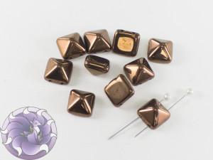 Pyramid beads 2-hole 12x12mm Jet Bronze