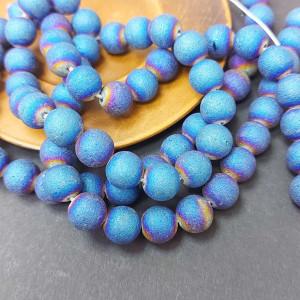Бусина Агат гальванизированный блестящий 10 штук, Цвет Синий
