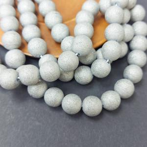 Бусина Агат гальванизированный блестящий 10 штук, Цвет Серебро