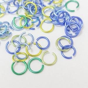 Соединительные кольца 6мм, 1,5г упаковка Микс Сине-зеленый