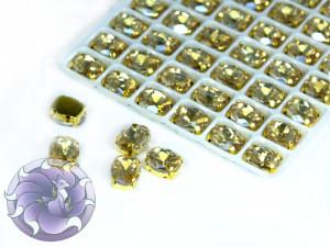 Кристалл в золотой оправе Овал 10x8мм Silk