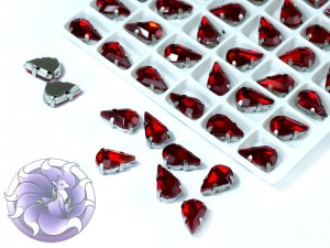 Кристалл в серебряной оправе Капля 8x5мм Светлый сиам