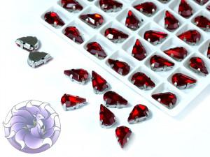 Кристалл в серебряной оправе Капля 10x6мм Светлый сиам