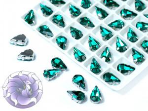 Кристалл в серебряной оправе Капля 10x6мм Изумрудный
