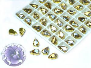 Кристалл в золотой оправе Капля 10x6мм Silk