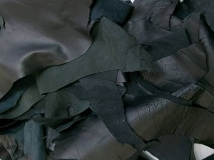 Кусочки натуральной кожи ИТАЛИЯ МИКС для рукоделия, Цвет Черный