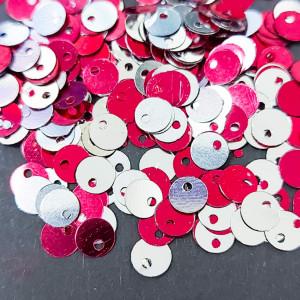 Пайетки фигурные смещенный центр, 5мм,07773, Цвет красный с серебром
