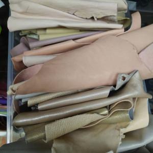Кусочки натуральной кожи для рукоделия микс из бежевой-коричневой палитры