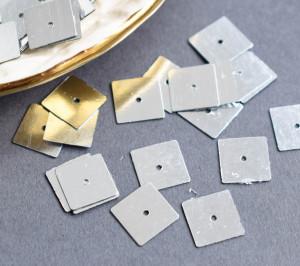 Пайетки фигурные 10мм, Квадрат,цвет Silver, 726