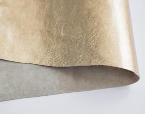 Кожа натуральная итальянская 0,6мм Светлое золото металлик
