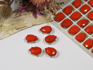 Стразы Капля в серебряной оправе 14*10мм цвет Красный Закат