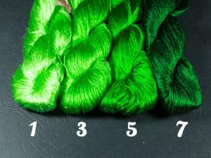 Шелковые нитки для вышивки, мулине шелк №90 зеленая палитра