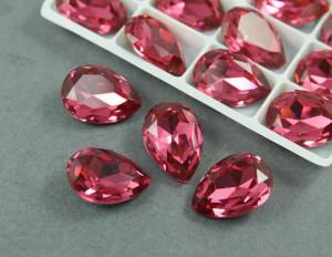 Кристалл Капля 18х13мм цвет Розовый