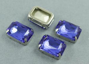 Кристалл форма Багет 18*13мм, цвет Синий, БЕЗ ОПРАВЫ