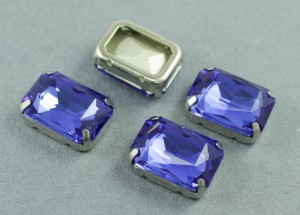 Кристалл форма Багет 18*13мм, цвет Синий, оправа серебро