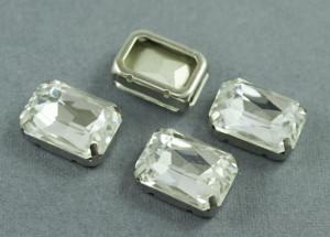Кристалл форма Багет 18*13мм, цвет Прозрачный, оправа серебро