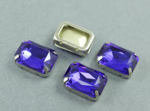 Кристалл форма Багет 18*13мм, цвет Sapphire, оправа серебро