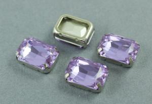 Кристалл форма Багет 18*13мм, цвет Violet, оправа серебро
