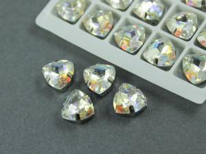 Кристалл форма Триллиант 12мм, цвет Laser Shine, оправа серебро