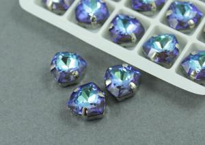 Кристалл лаковый форма Триллион 12мм, цвет Темно-синий, оправа серебро