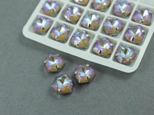 Кристалл лаковый форма Триллион 12мм, цвет Greige, оправа серебро