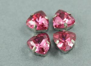 Кристалл форма Триллион 12мм, цвет Pink Rose, оправа серебро