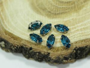Кристалл Маркиз 10*5мм в серебряной оправе, Цвет Синий Циркон