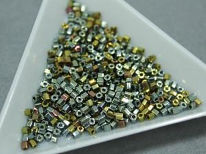 Бисер 5г TOHO- Hexagon 11/0 Galvanized Blue Gold