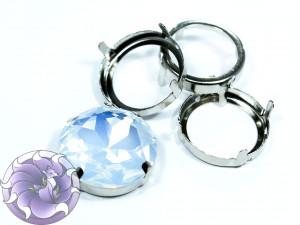 Оправы для кристаллов Круглые серебряные 27мм