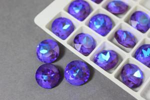 Кристалл круглый 14мм лаковый Sapphire AB