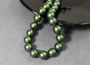 Swarovski 5810 Round Pearl Beads- Scarabaeus Green Pearl