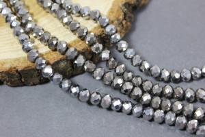 Бусины Рондели 6мм, нить около 100 шт Серебро