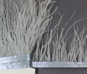 Лента из перьев страуса 10-15см Цвет Серый