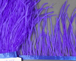 Лента из перьев страуса 10-15см Цвет Электра