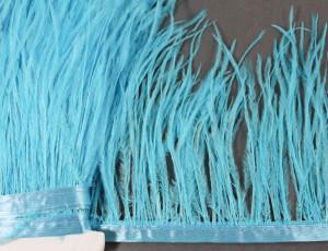 Лента из перьев страуса 10-15см Цвет Ярко-голубой