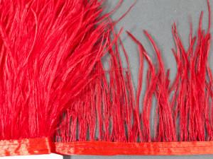 Лента из перьев страуса 10-15см Цвет Алый