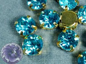 Шатон 6мм цвет 122 Aquamarine оправа золото