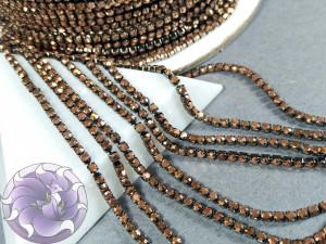 Стразовая цепь 2мм ss6 Rose gold hematite основа черненая BG96