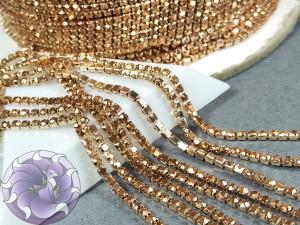Стразовая цепь 2мм ss6 Rose gold hematite основа Розовое золото Rg97