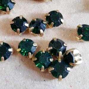 Шатон 6мм цвет 123 Emerald оправа золото