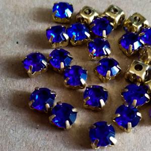 Шатон 6мм цвет 115 Sapphire оправа золото