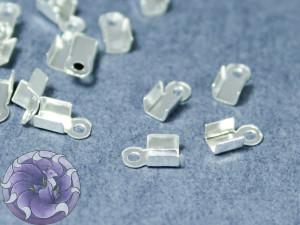 Концевики зажимы для цепочек со стразами 2мм Цвет серебро