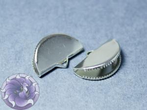 Зажим для лент и кистей полукруг с зубчиками 12.5x20x7 мм, Цвет Серебро