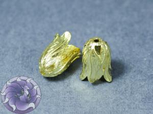 Концевик для шнуров, жгута и кистей, цветок, 16x11.5x11 мм, Матовое золото