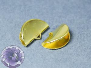 Зажим для лент и кистей полукруг с зубчиками 12.5x20x7 мм, Цвет Золото