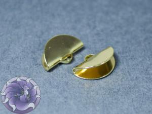 Зажим для лент и кистей полукруг 9x15x6.5мм, Цвет 18к позолота
