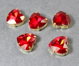 Стразы Сердце 12мм цвет Siam, оправа золото