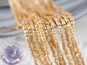 Бисер богемский Preciosa 3 cut 12/0 на нитке Metallic gold