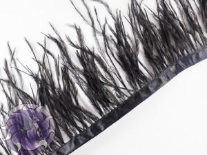 Лента из перьев страуса 8-10см цвет Черный