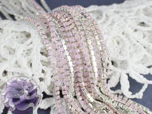 Стразовая цепь розовый опал в серебре ss6 SOP88